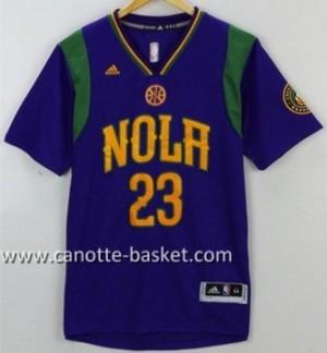 Maglie nba New Orleans Pelicans Anthony Davis #23 porpora manica lunga