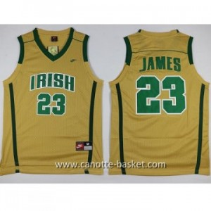 Maglie nba NCAA Scuola superiore LeBron James #23 giallo