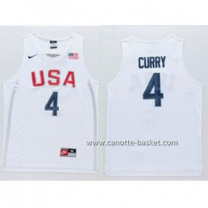 maglie basket 2016 USA Rio Olympics Stephen Curry #4 bianco