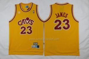 Maglie nba Cleveland Cavalier LeBron James #23 Retro giallo