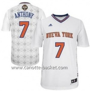 Maglie nba New York Knicks Carmelo Anthony #7 bianco Latina Notte