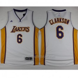 Maglie nba Los Angeles Lakers Jordan Clarkson #6 bianco 2016 stagione