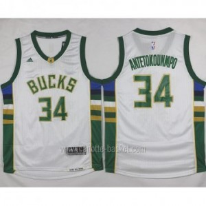 Maglie nba Milwaukee Bucks Giannis Antetokounmpo #34 bianco 15-16 stagione