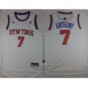 Maglie nba New York Knicks Carmelo Anthony #7 nuovi tessuti bianco