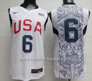 Maglie basket 2008 USA LeBron James #6 bianco