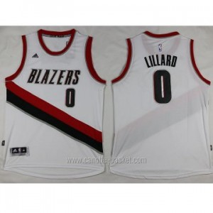 Maglie nba Portland Blazers Damian Lillard #0 bianco