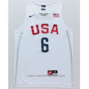 maglie basket 2016 USA Rio Olympics LeBron James #6 bianco