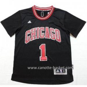 Maglie nba Chicago Bulls Derrick Rose #1 nero manica lunga
