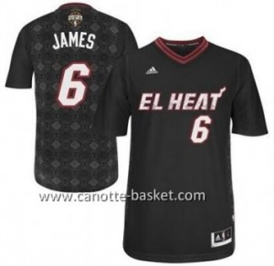 Maglie nba Miami Heat LeBron James #6 nero Latina Notte