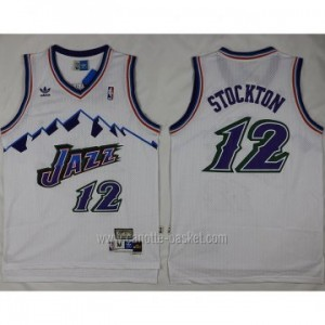 Maglie nba Utah Jazz John Stockton #12 bianco bianco snow Mountain Editio