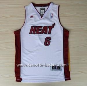 nuovo Maglie nba Miami Heat LeBron James #6 bianco