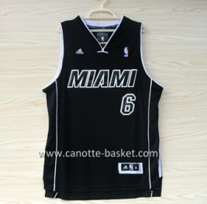 nuovo Maglie nba Miami Heat LeBron James #6 nero