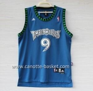 nuovo Maglie nba Minnesota Timberwolves Ricky Rubio #9 blu