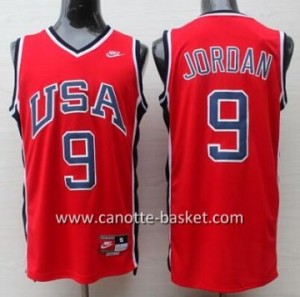 maglie basket 1984 USA Michael Jordan #9 rosso