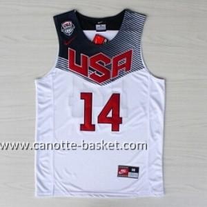 Maglie basket 2014 USA Anthony Davis #14 bianco