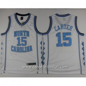 Maglie nba NCAA University of North Carolina Carter #15 bianco