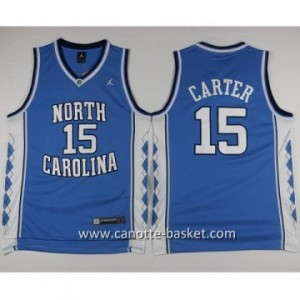 Maglie nba NCAA University of North Carolina Carter #15 blu
