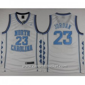 Maglie nba NCAA University of North Carolina Michael Jordan #23 bianco