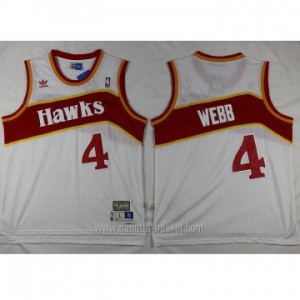 Maglie nba Atlanta Hawks Spud Webb #4 bianco Retro