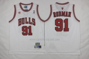 Maglie nba Chicago Bulls Dennis Rodman #91 bianco
