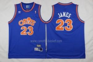 Maglie nba Cleveland Cavalier rosso LeBron James #23 Retro blu