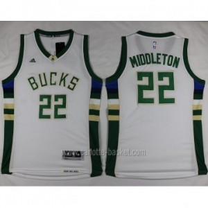 Maglie nba Milwaukee Bucks Khris Middleton #22 bianco 2016 stagione