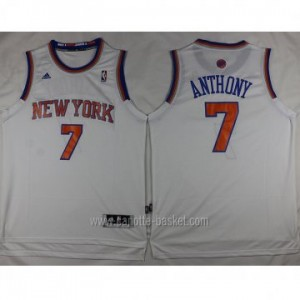 Maglie nba New York Knicks Carmelo Anthony #7 nuovi tessuti bianco