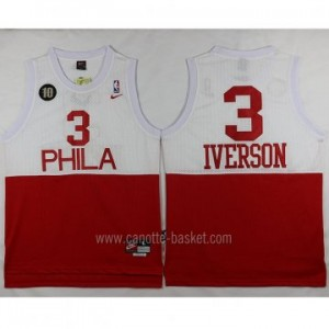 Maglie nba Philadelphia 76ers Allen Iverson #3 Bianco Rosso