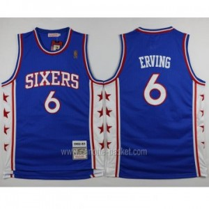 Maglie nba Philadelphia 76ers Julius Erving #6 blu classico