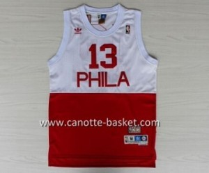 Maglie nba Philadelphia 76ers Wilt Chamberlain #13 bianco e rosso