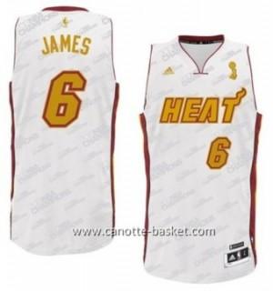 nuovo Maglie nba Miami Heat LeBron James #6 oro bianco