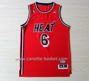 nuovo Maglie nba Miami Heat LeBron James #6 retro rosso