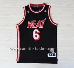nuovo Maglie nba Miami Heat LeBron James #6 retro nero