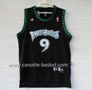nuovo Maglie nba Minnesota Timberwolves Ricky Rubio #9 nero