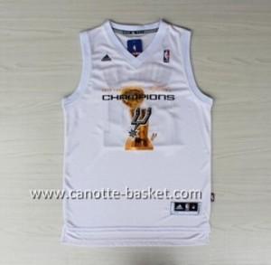 Maglie nba San Antonio Spurs Tony Parker #9 bianco 2014 campioni