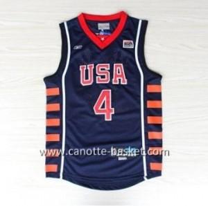 maglie basket 1984 USA Allen Iverson #4 blu marino