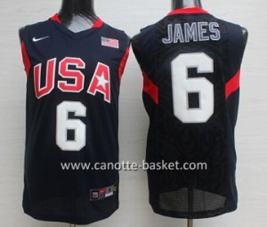 Maglie basket 2008 USA LeBron James #6 nero