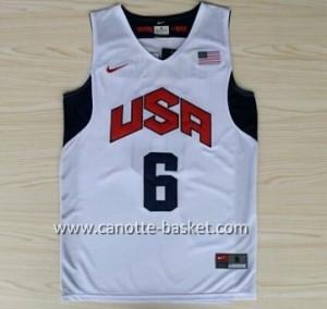 Maglie basket 2012 USA LeBron James #6 bianco