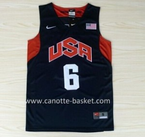 Maglie basket 2012 USA LeBron James #6 nero