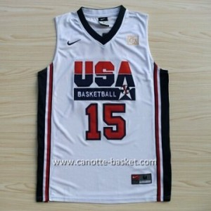 maglie basket 1992 USA Magic Johnson #15 bianco