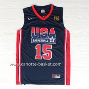 maglie basket 1992 USA Magic Johnson #15 blu