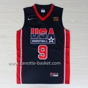 maglie basket 1992 USA Michael Jordan #9 blu