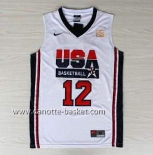 maglie basket 1992 USA John Stockton #12 bianco